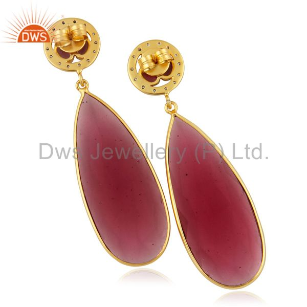 Exporter Pink Glass Bezel Set Fashion Long Drop Earrings With CZ In 14K Gold Over Brass