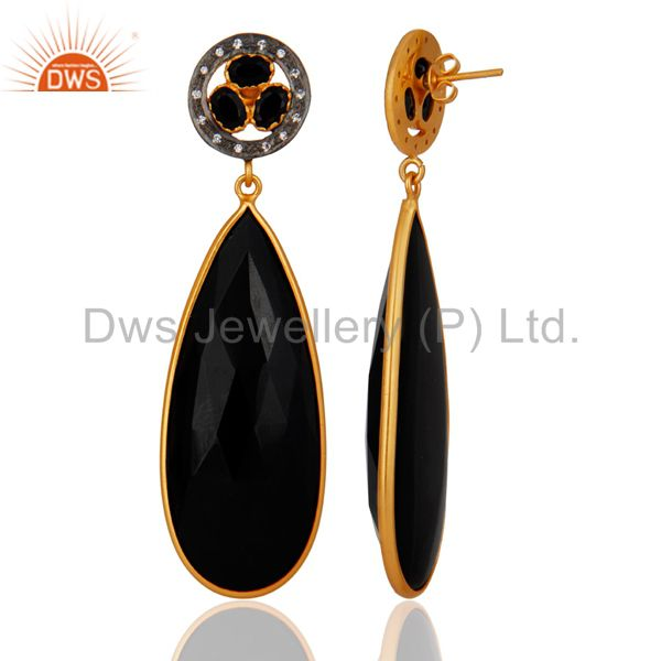 Exporter Yellow Gold Plated Faceted Black Onyx Gemstone Bezel-Set Dangle Earrings