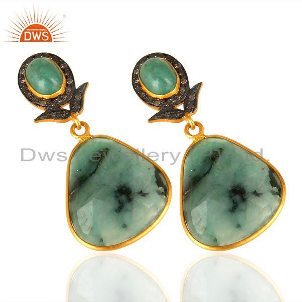 Exporter Natural Diamond And Emerald Dangle Earring,Large Emerald Earring