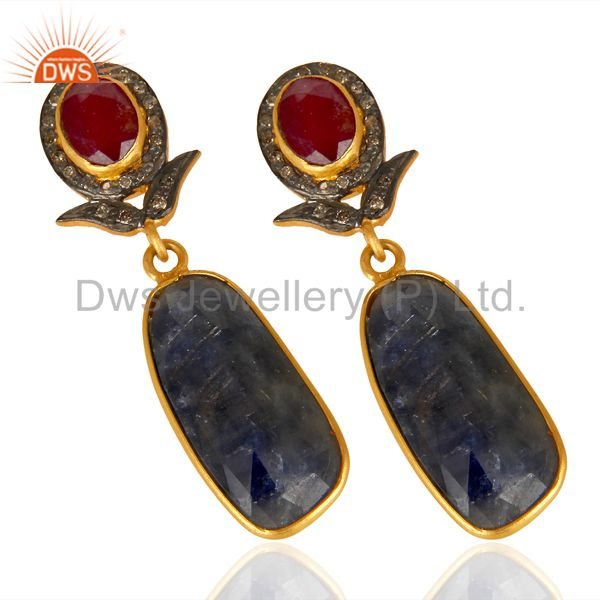 Exporter Natural Diamond And Sapphire Dangle Earring,Large Sapphire Earring