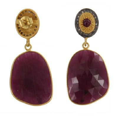 Exporter 18k Yellow Gold Over Sterling Silver Ruby Slice Diamond Pave Set Dangle Earrings