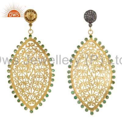 Exporter 22K Gold Plated Sterling Silver Pave Diamond Emerald Filigree Dangle Earrings