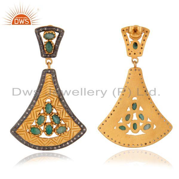 Exporter Exquisite 24K Gold Plated 925 Silver Earring Classic Emerald Earring Jewelry