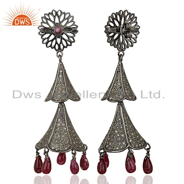 Exporter Antique Pave Diamond Ruby Gemstone Silver Earrings Jewelry Supplier