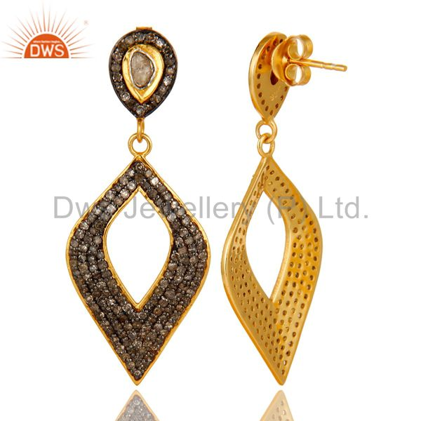Exporter 18K Yellow Gold Sterling Silver Pave Set Diamond Cutout Marquis Drop Earrings