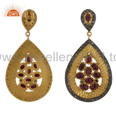 Exporter 18K Yellow Gold Over Sterling Silver Pave Set Diamond Ruby Teardrop Earrings