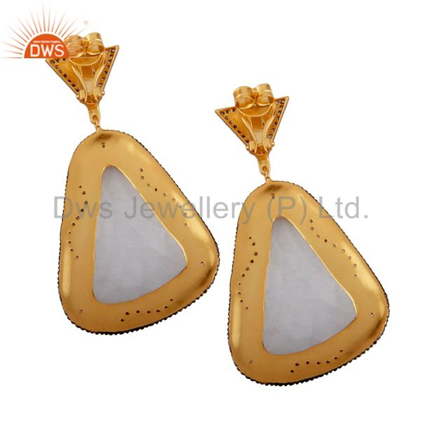 Exporter 22K Yellow Gold Plated Brass Crystal Quartz And CZ Fashion Dangle Earrings