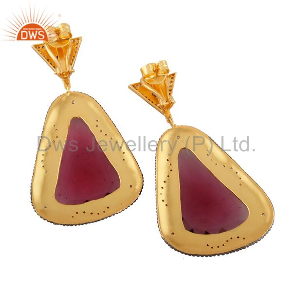 Exporter 14K Yellow Gold Plated Brass Pink Glass And CZ New Fashion Dangle Earrings
