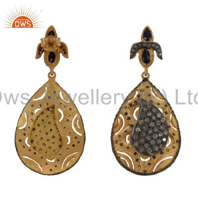 Exporter 18K Gold And Sterling Silver Blue Sapphire Pave Diamond Drop Dangle Earrings