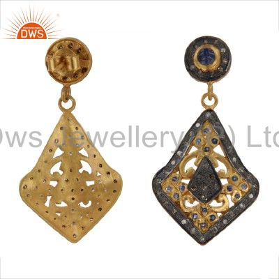 Exporter 18K Yellow Gold And Sterling Silver Blue Sapphire Pave Set Diamond Earrings