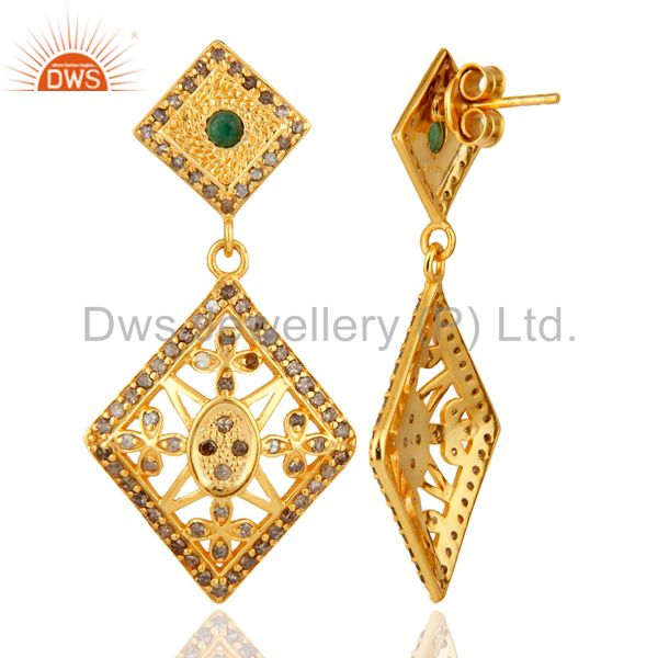 Exporter 18K Yellow Gold Over 925 Sterling Silver Emerald & Pave Diamond Earrings