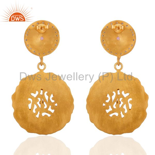Exporter Indian Handmade Designer 18k Gold Plated White Zircon Matte Finish Drop Earrings