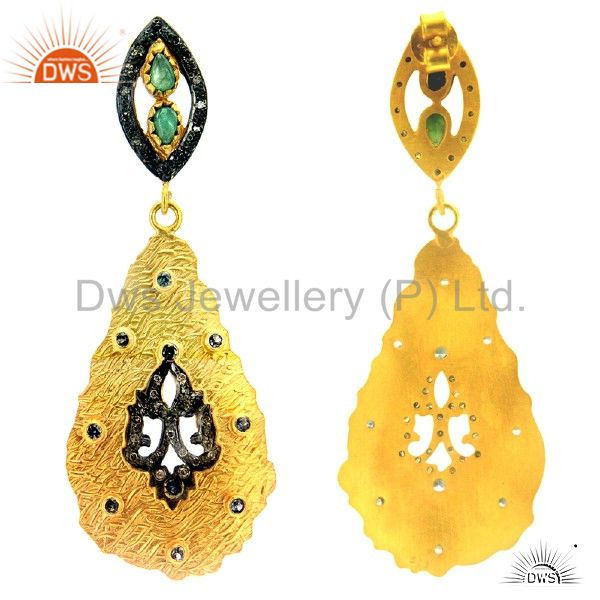 Exporter 18K Gold Over Sterling Silver Pave Diamond And Emerald Teardrop Earrings