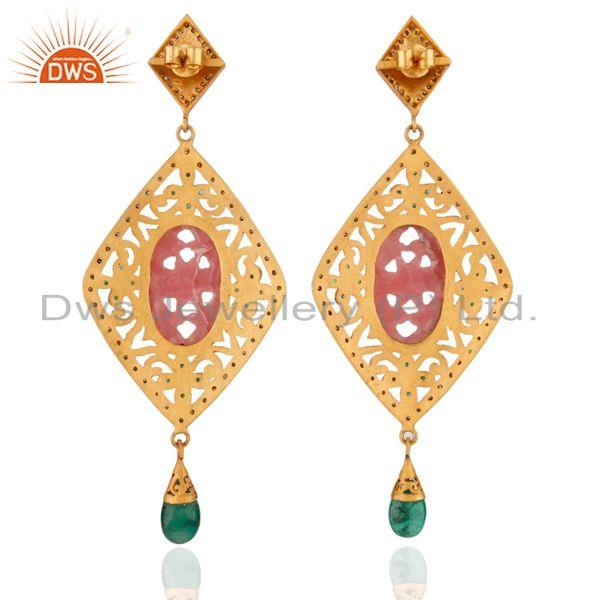 Exporter Rhodocrosite Diamond Sterling Silver Emerald Carved Anniversary Earring