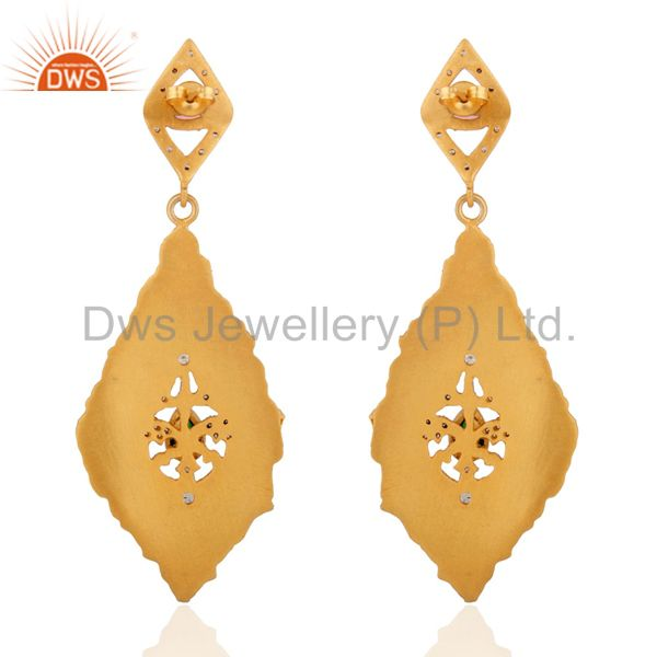 Exporter 18K Yellow Gold Plated Dangle Earrings Matte Finish White Zircon Earrings