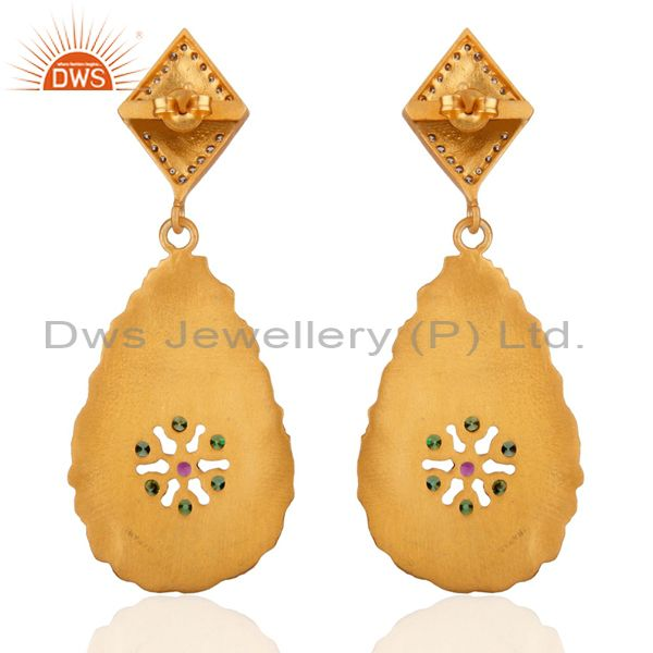 Exporter 24KT Gold Plated Dangle Earrings Matte Spark Textured Finish Zircon Jewelry