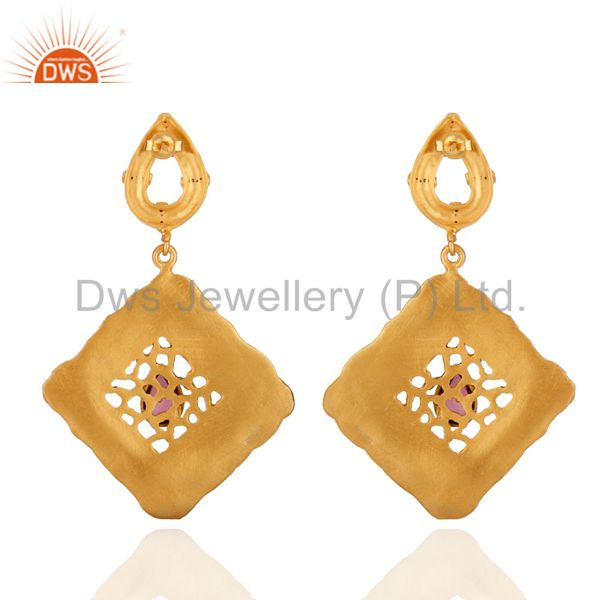 Exporter Vintage Inspired Lady Fashion 18K Gold Plated Textured Finish Dangle Earrings