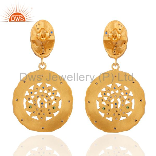 Exporter Traditional Peacock Designer 24k Gold Plated Cubic Zirconia Dangle Earring