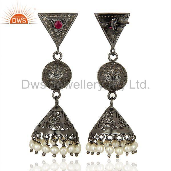 Exporter Pearl Gemstone Pave Diamond Indian Wedding Earrings Jewelry Supplier