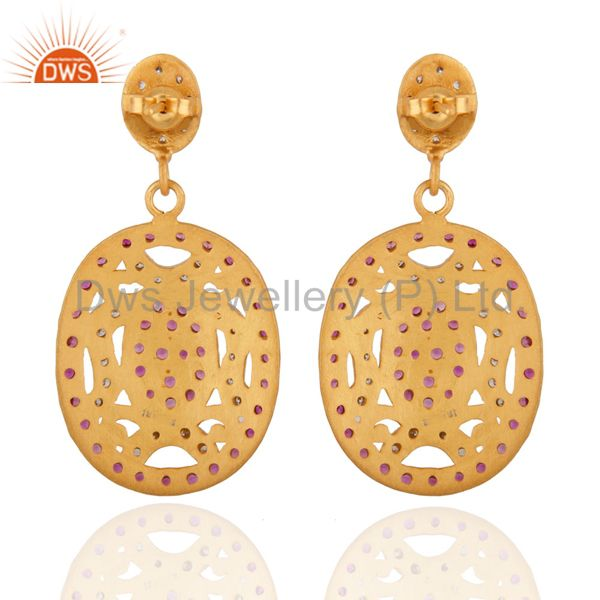 Exporter Estate 18K Real Gold-Plated Red Cubic Zirconia Dangle Wedding / Bridal Party Ear