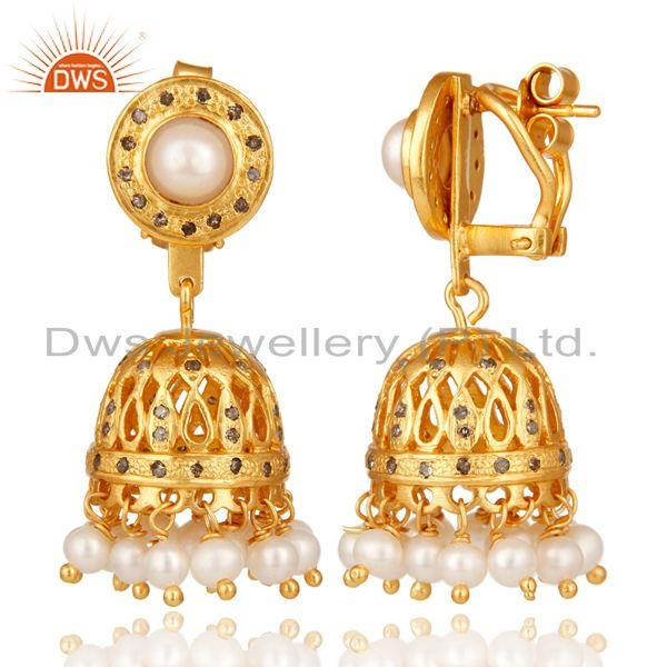 Exporter 18K Gold Plated Pearl and Diamond Sterling Silver Jhumka Earring