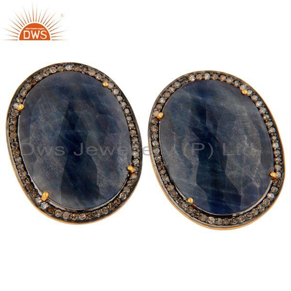 Exporter Natural Rich Blue Sapphire Diamond 18k Gold Plated 925 Sterling Silver Earrings