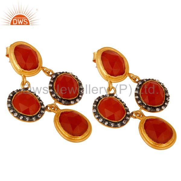 Exporter Natural Carnelian Gemstone Sterling Silver With Gold Plated Chandelier Earrings