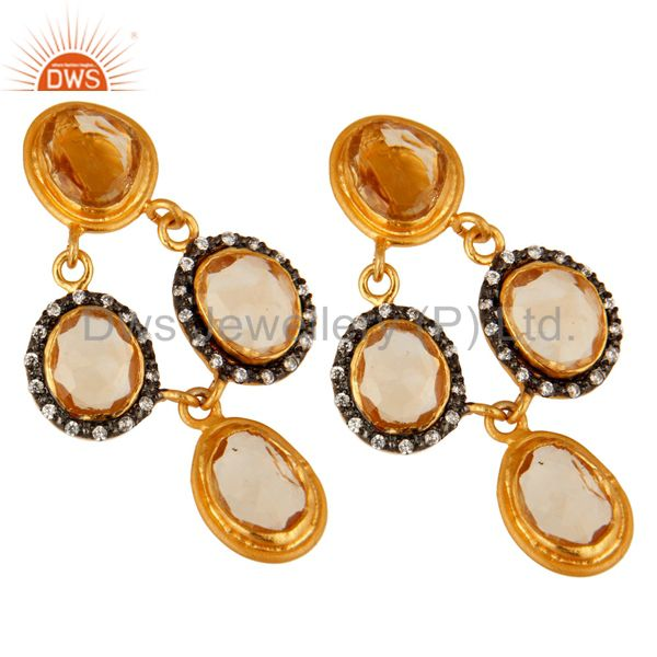Exporter 14K Gold Plated Sterling Silver Citrine And White Zircon Earrings