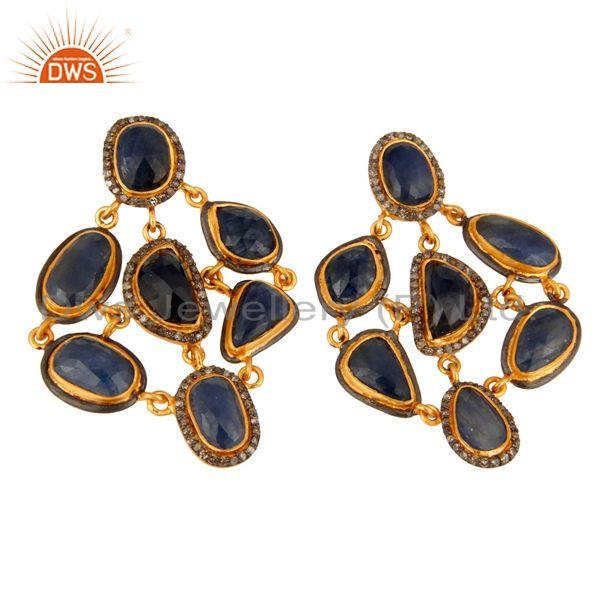 Exporter Handmade Pave Diamond Natural Blue Sapphire Gemstone 925 Sterling Silver Earring