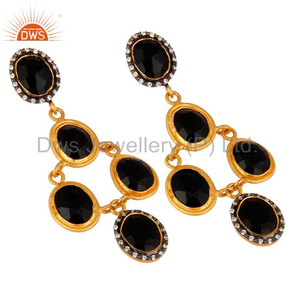 Exporter Handmade Sterling Silver Black Onyx Gold Plated Gemstone Earrings With Zircon