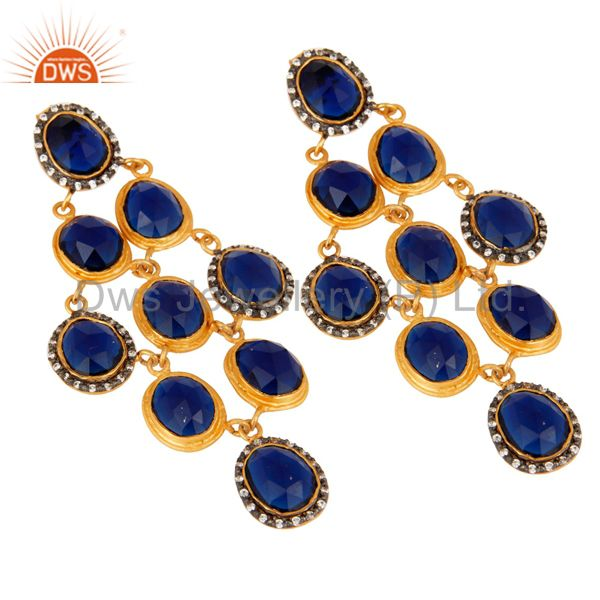 Exporter 18K Yellow Gold Plated Sterling Silver Blue Corundum Chandelier Earrings With CZ