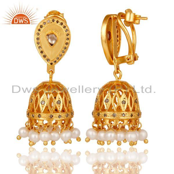 Exporter Diamond and White Pearl Beaded Jhumka Earring 18K Gold Plated Sterling Silver