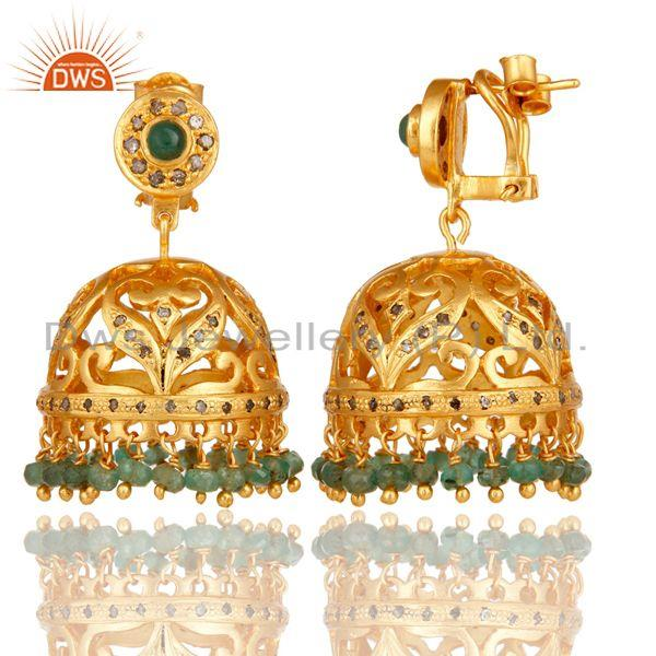 Exporter Emerald and Diamond 18K Gold Plated Jhumka Sterling Silver Traditional Earring