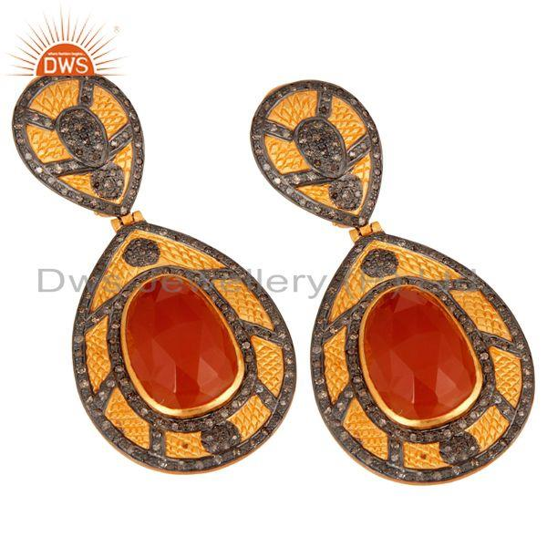Exporter 925 Sterling Silver Over 18k Gold Plated Carnelian Gemstone Diamond Earring Jewe