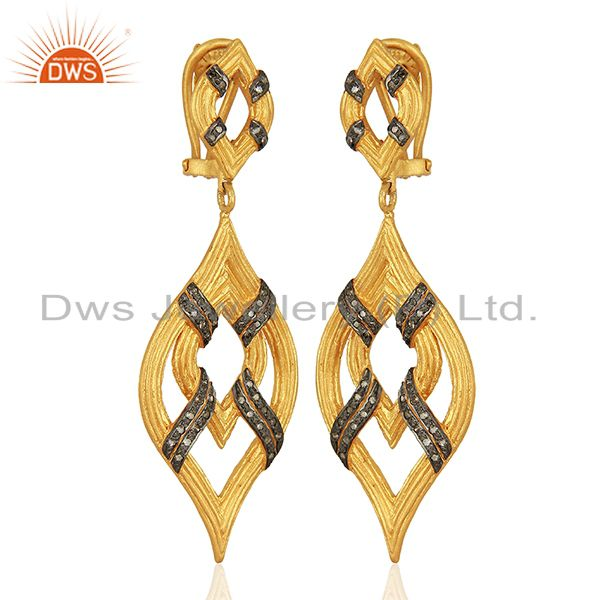 Exporter Gold Plated Pave Diamond Silver Wedding Earrings Jewelry Manufacture