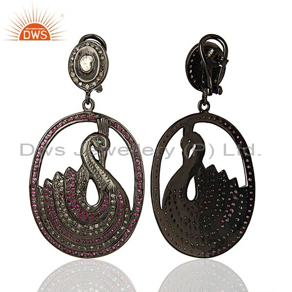 Exporter Traditional Pave Diamond 925 Silver Earrings Jewelry Manufacturer
