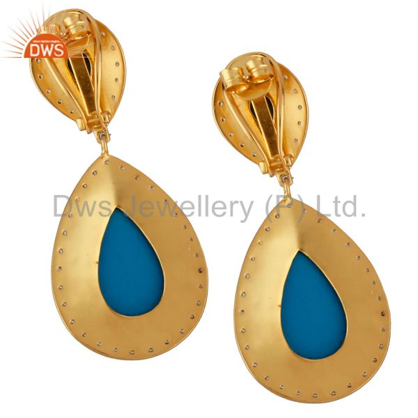 Exporter 14K Yellow Gold Plated Brass Turquoise And CZ Bridal Fashion Drop Earrings