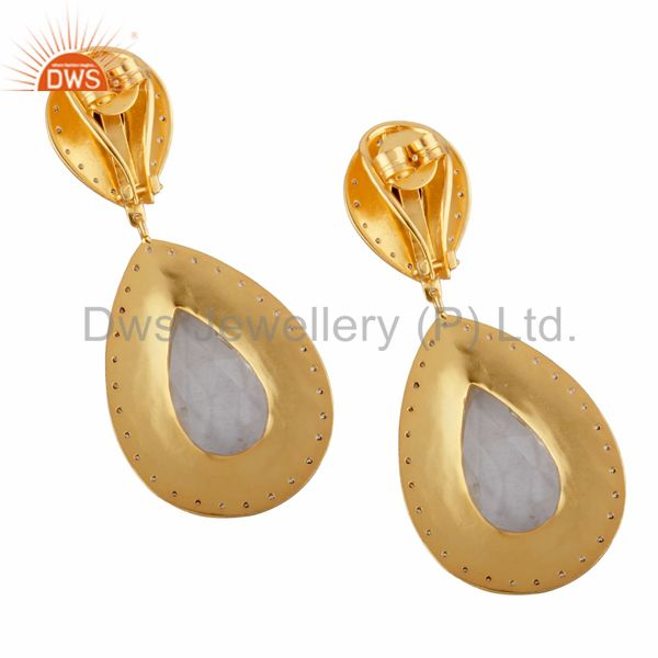 Exporter Fashion Ladies 18k Gold Plated Chalcedony & Crystal Zircon Clip On Stud Earrings