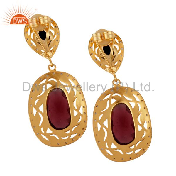 Exporter 14K Yellow Gold Plated Brass Red Glass And CZ Designer Dangle Earrings