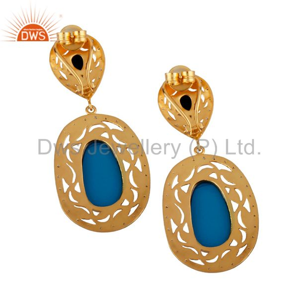Exporter 14K Yellow Gold Plated Brass Turquoise And CZ Womens Designer Dangle Earrings