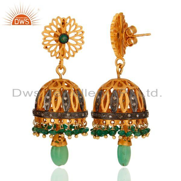 Exporter Gold Plated Over Sterling Silver Rosecut Diamond Gems Vintage Look Dangle Earrin