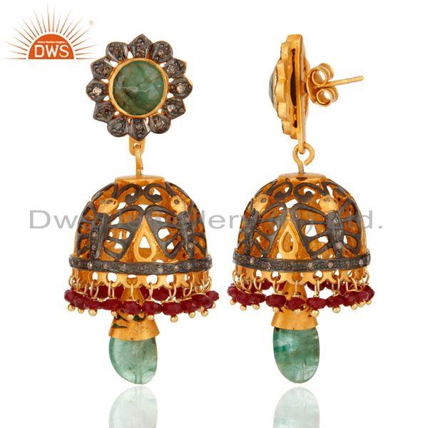 Exporter Sterling Silver Ruby & Emerald Gemstone Pave Diamond Traditional Jhumka Earring