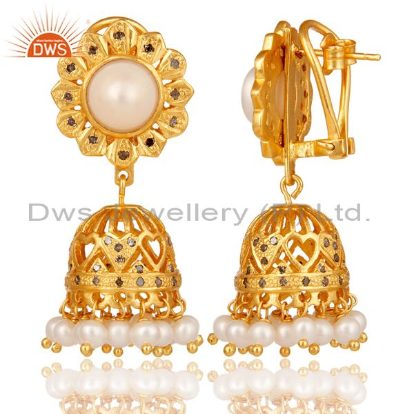 Exporter 18K Gold Plated Sterling Silver White Pearl and Diamond Jhumka Earring