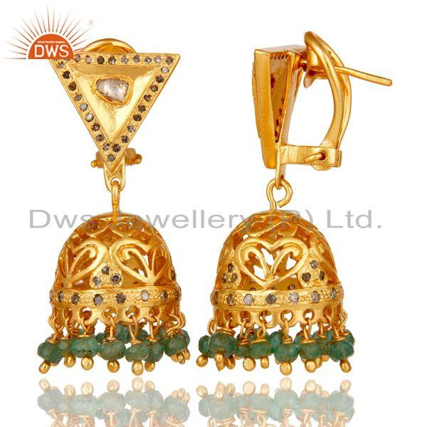 Exporter Emerald and Diamond 18K Gold Plated Sterling Silver Traditional Jhumka Earring