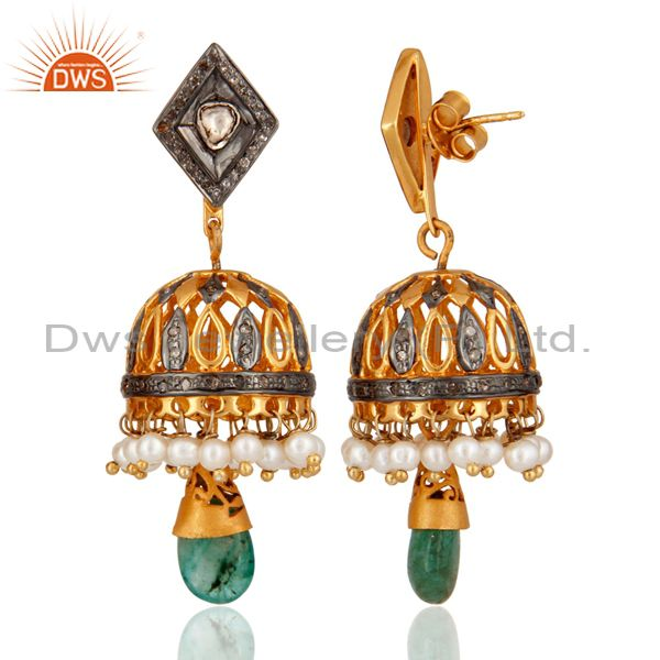 Exporter Antique Cut Diamond 925 Sterling Silver Emerald Bollywood Style Fashion Earrings