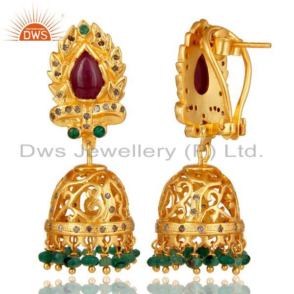 Exporter Emerald Ruby and Diamond Precious Jewelry Earring 18K Gold Plated 925 Silver
