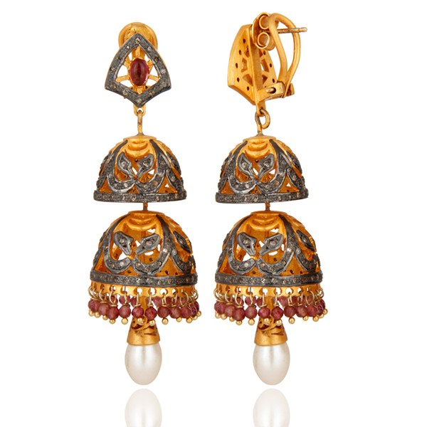 Exporter Pink Tourmaline and Diamond Gold Plated Sterling Silver Jhumki Earring
