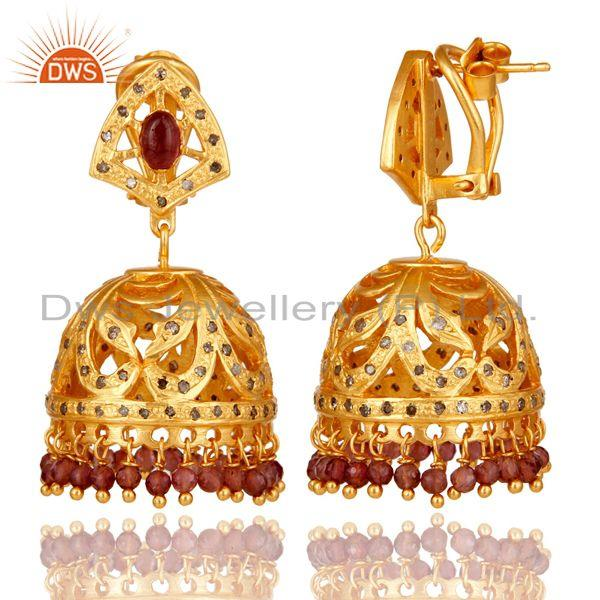 Suppliers Pink Tourmaline and Diamond Gold Plated Sterling Silver Jhumki Earring
