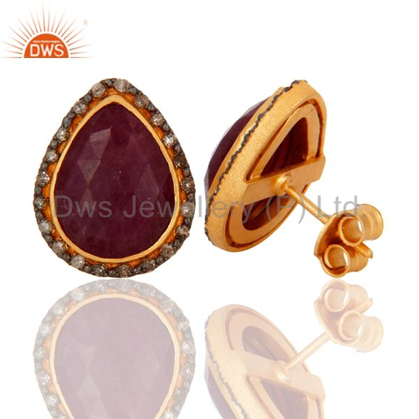 Exporter Handmade 18K Gold On 925 Sterling Silver Ruby Gemstone Pave Diamond Stud Earring