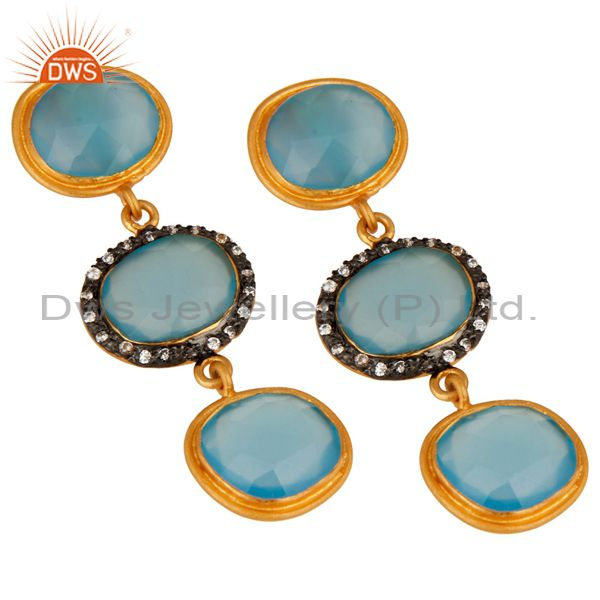 Exporter 925 Sterling Silver Blue Chalcedony Gemstone 18K Yellow Gold Plated Earring